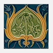 Art Nouveau Framed Flower Tile Coaster