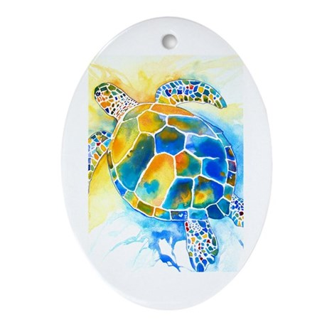 More Sea Turtles Ornament (Oval)