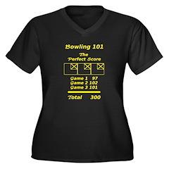 Bowling 300 Women's Plus Size V-Neck Dark T-Shirt