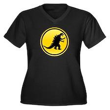 Godzilla Crossing Women's Plus Size V-Neck Dark T-