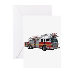 Firetruck Design Greeting Cards (Pk of 10)