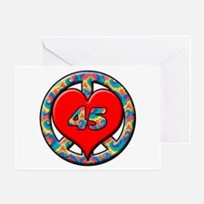 peace heart and 45 copy Greeting Cards