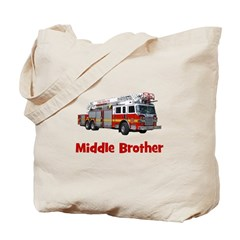 Middle Brother Fire Truck Tote Bag