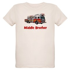 Middle Brother Fire Truck Organic Kids T-Shirt