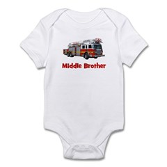 Middle Brother Fire Truck Infant Bodysuit
