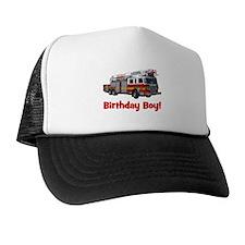 Birthday Boy Fire Truck Trucker Hat