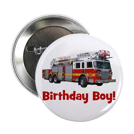 """Birthday Boy Fire Truck 2.25"""" Button"""