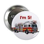 """I'm 5! Firetruck 2.25"""" Button"""