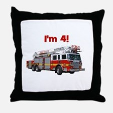 I'm 4! Firetruck Throw Pillow