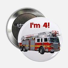 """I'm 4! Firetruck 2.25"""" Button"""