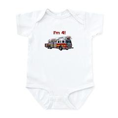 I'm 4! Firetruck Infant Bodysuit