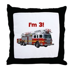 I'm 3! Fire Truck Throw Pillow