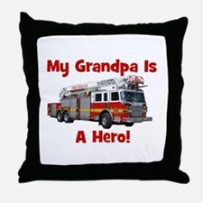 Grandpa Is My Hero FireTruck Throw Pillow