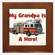Grandpa Is My Hero FireTruck Framed Tile