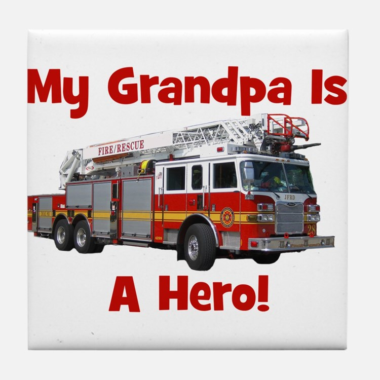 Grandpa Is My Hero FireTruck Tile Coaster