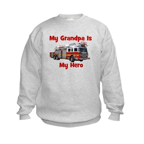 Grandpa Is My Hero FireTruck Kids Sweatshirt
