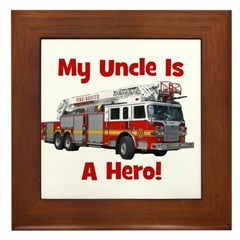 Uncle Is My Hero FireTruck Framed Tile