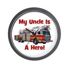 Uncle Is My Hero FireTruck Wall Clock