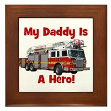 Daddy Is My Hero FireTruck Framed Tile