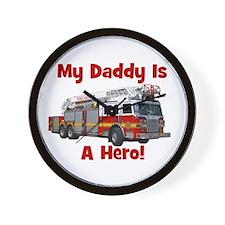 Daddy Is My Hero FireTruck Wall Clock