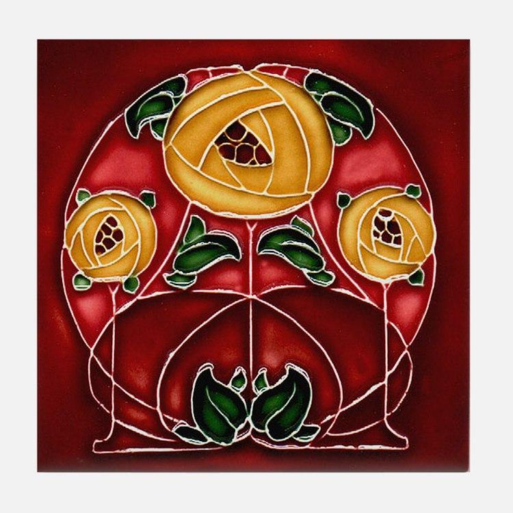 Art Nouveau Yellow Mackintosh Rose Tile Coas