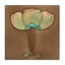 Art Nouveau Delicate Flower Tile Coaster