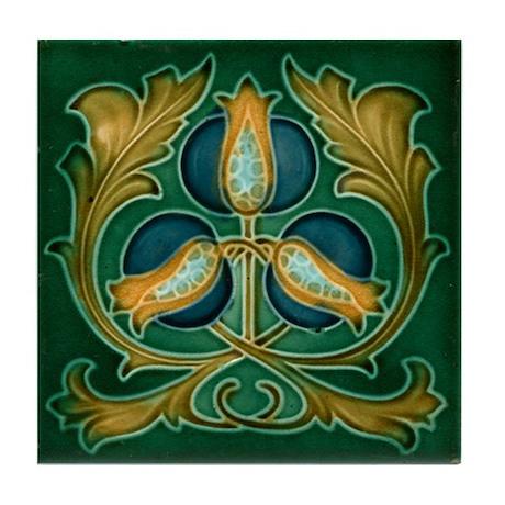 Art Nouveau Pomegranate Tile Coaster