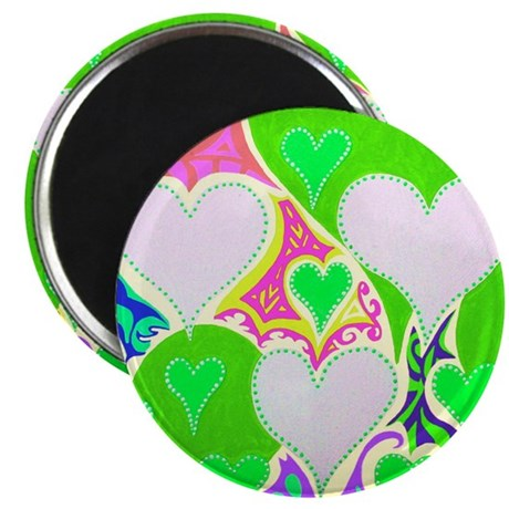 Raining Hearts Bright Green Magnet