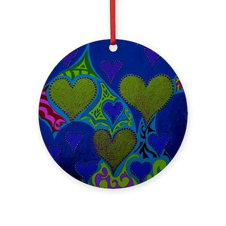 Raining Hearts Dark Blue Ornament (Round)