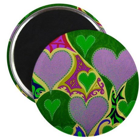 Raining Hearts Green Magnet