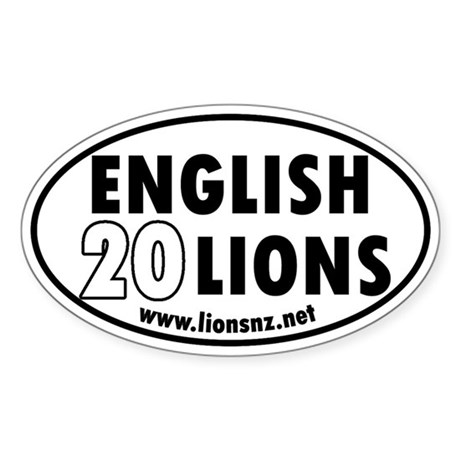 20 English Lions Rugby Humor Oval Sticker