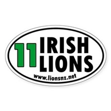 11 Irish Lions Rugby Humor Oval Decal