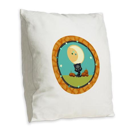 Cute Black and pumpkins stary Burlap Throw Pillow