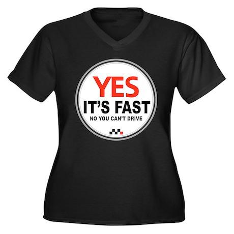 Yes It's Fast Women's Plus Size V-Neck Dark T-Shir