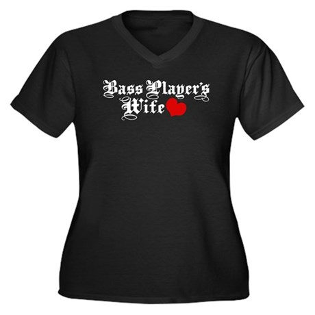 Bass Player's Wife Women's Plus Size V-Neck Dark T