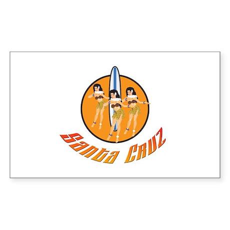 Santa Cruz Hula Girls Sticker (Rectangle)