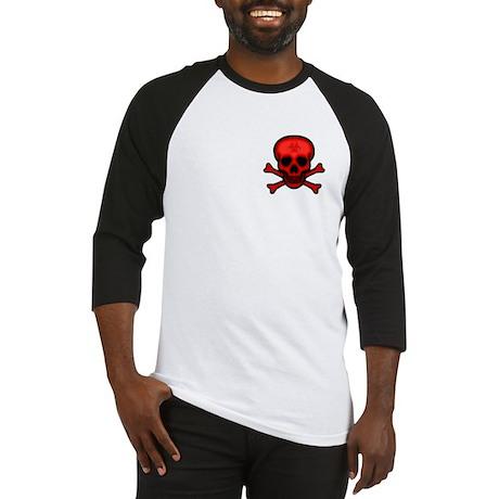 Red Biohazard Skull Baseball Jersey
