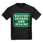 Boston Drivers Are Insane Kids Dark T-Shirt