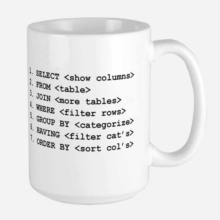 """I Speak SQL"" & SELECT Large Mug"