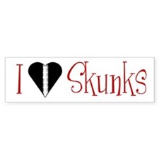 I Love (heart) Skunks Bumper Bumper Sticker