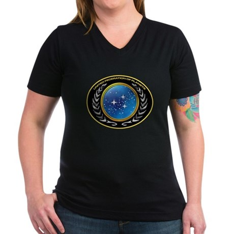 United Federation of Planets Women's V-Neck Dark T
