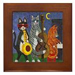 Jazz Cats Framed Tile