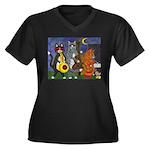 Jazz Cats Women's Plus Size V-Neck Dark T-Shirt
