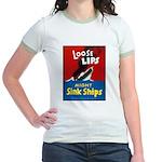 Loose Lips Sink Ships (Front) Jr. Ringer T-Shirt