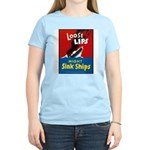 Loose Lips Sink Ships (Front) Women's Pink T-Shirt