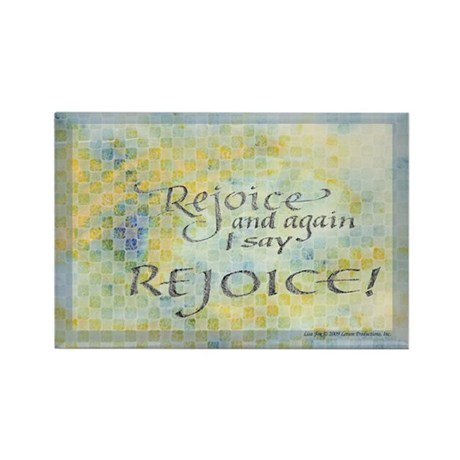 Rejoice calligraphy Rectangle Magnet (100 pack)