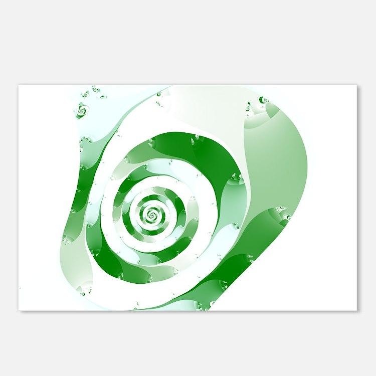 Simple Green Fractal Postcards (Package of 8)