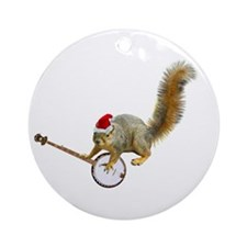 Christmas Banjo Squirrel Ornament (Round)
