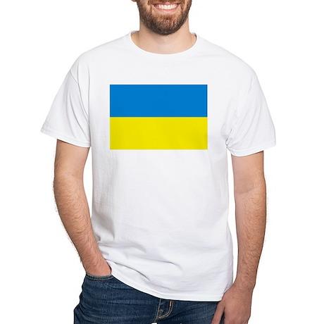 Ukraine Flag White T-Shirt