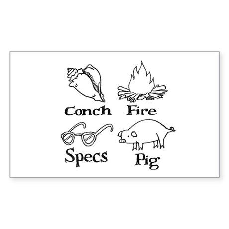 Conch, specs, fire, pig Rectangle Sticker